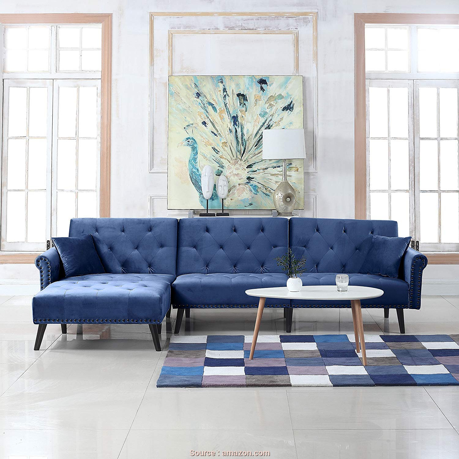 Amazon Copricuscini Divano, Superiore Divano Roma Furniture, Century Modern Style Velvet Sleeper Futon Sofa, Living Room L Shape Sectional Couch With Reclining Backrest, Chaise Lounge