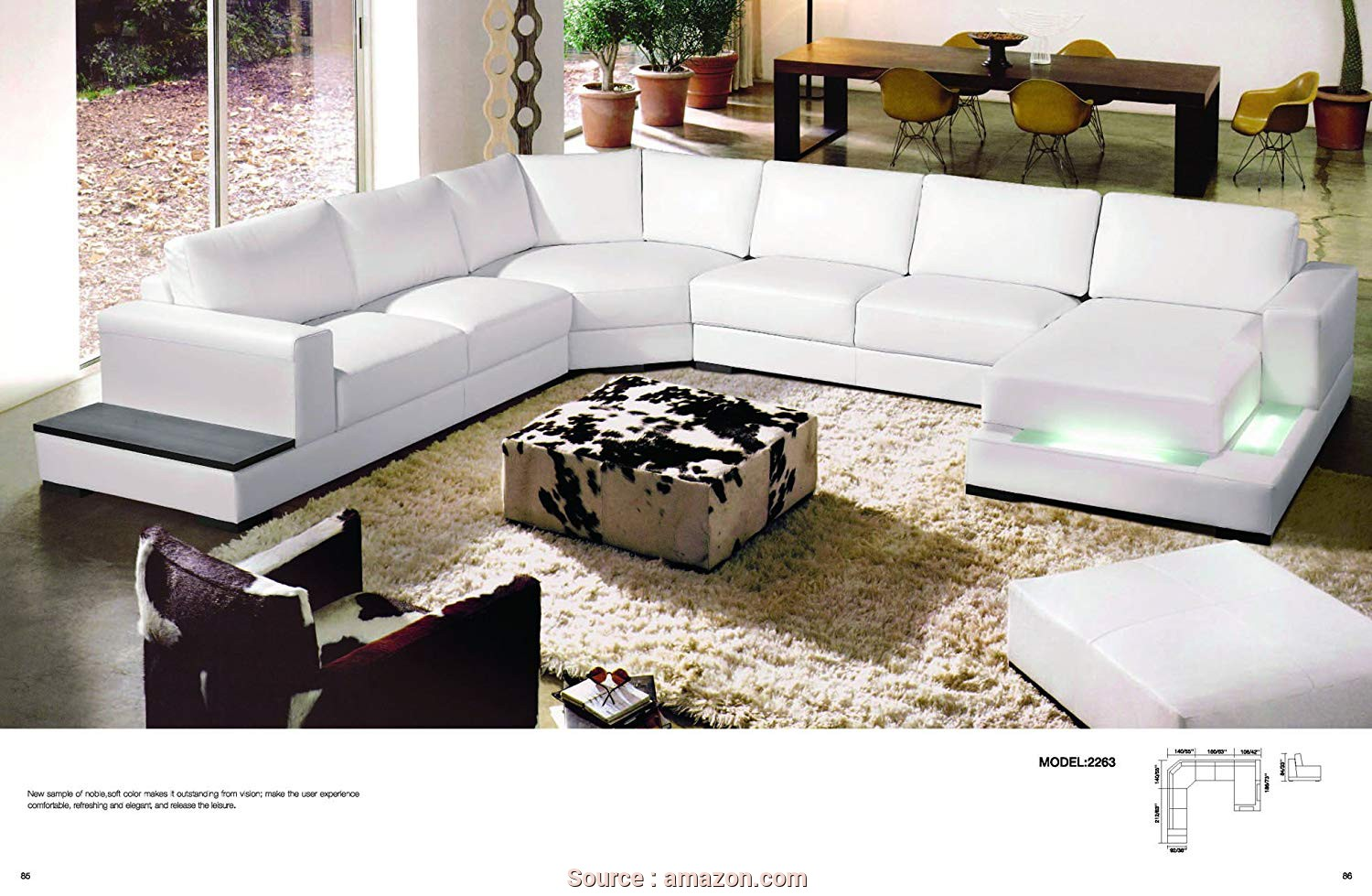 Amazon Divani Country, Casuale Amazon.Com: My Aashis Divani Casa 2263, Modern Contemporary Leather Sectional Sofa White Color Light: Kitchen & Dining