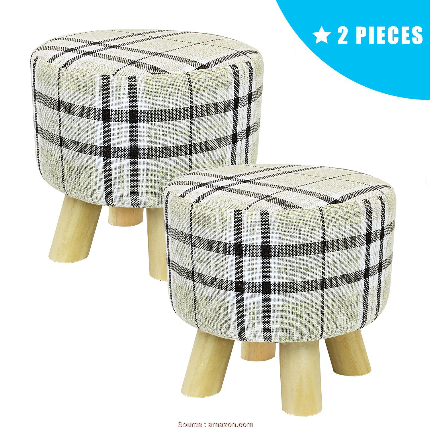 Amazon Plaid, Divano, Completare Jerry & Maggie, Pieces Footstool Fabric Ottomans Cute Bench Seat Foot Rest Step Stool Soft Bottom, With Feet Protection Design, Round, Legs