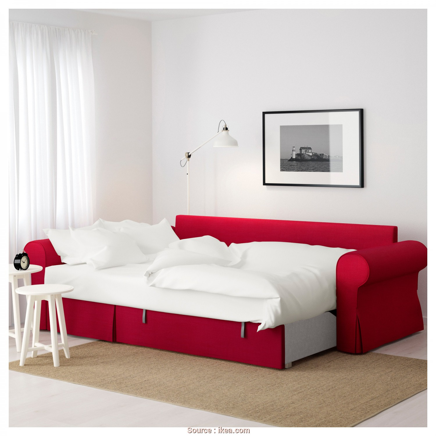 Backabro Sofa, With Chaise Longue £725 Ikea, Semplice BACKABRO Sofa, With Chaise Longue Nordvalla Red