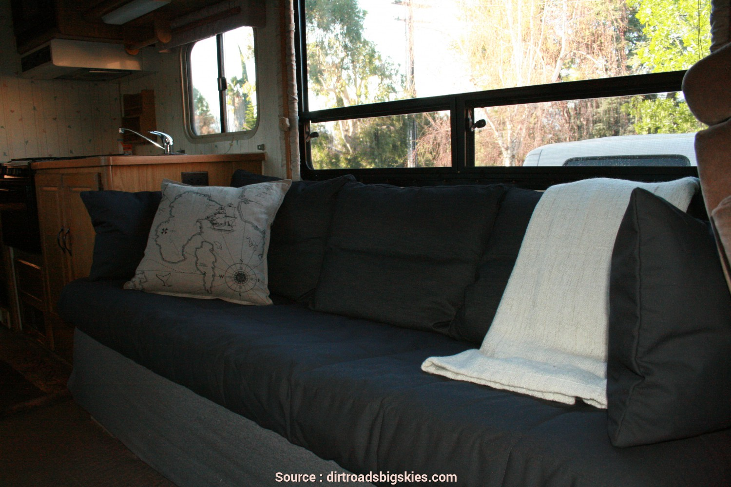 Beddinge Ikea Allegro, Esotico RV Renovation: Jackknife Couch Before/After, Dirt Roads,, Skies