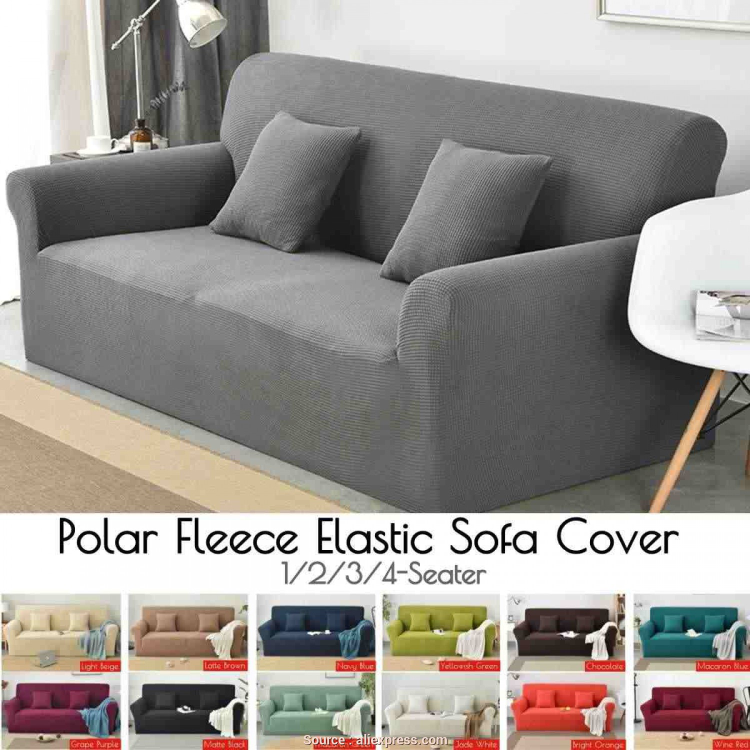 Copridivano Sofa Saver, Elegante 2019, Winter Thicken Spandex Polar Fleece Super Elastic Stretch Sofa Cover Slipcover Couch Living Room 1/2/3/4 Seater Solid