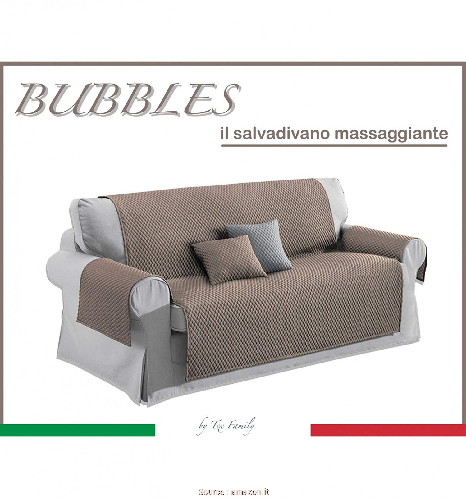 Copridivano Tortora, Loveable Tex Family COPRIDIVANO TR SALVADIVANO Bubbles Tortora AD Effetto MASSAGGIANTE No Stiro, POSTI, 175: Amazon.It: Casa E Cucina