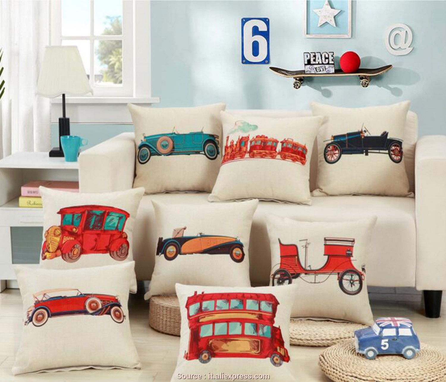 Cuscini, Divano Bambini, Favoloso Treno Auto, Cuscino, I Bambini Cuscino Decorativo Covers, Divano Sedia Auto Home Decor Pillow Case Cuscino Di Tiro In Treno Auto, Cuscino, I