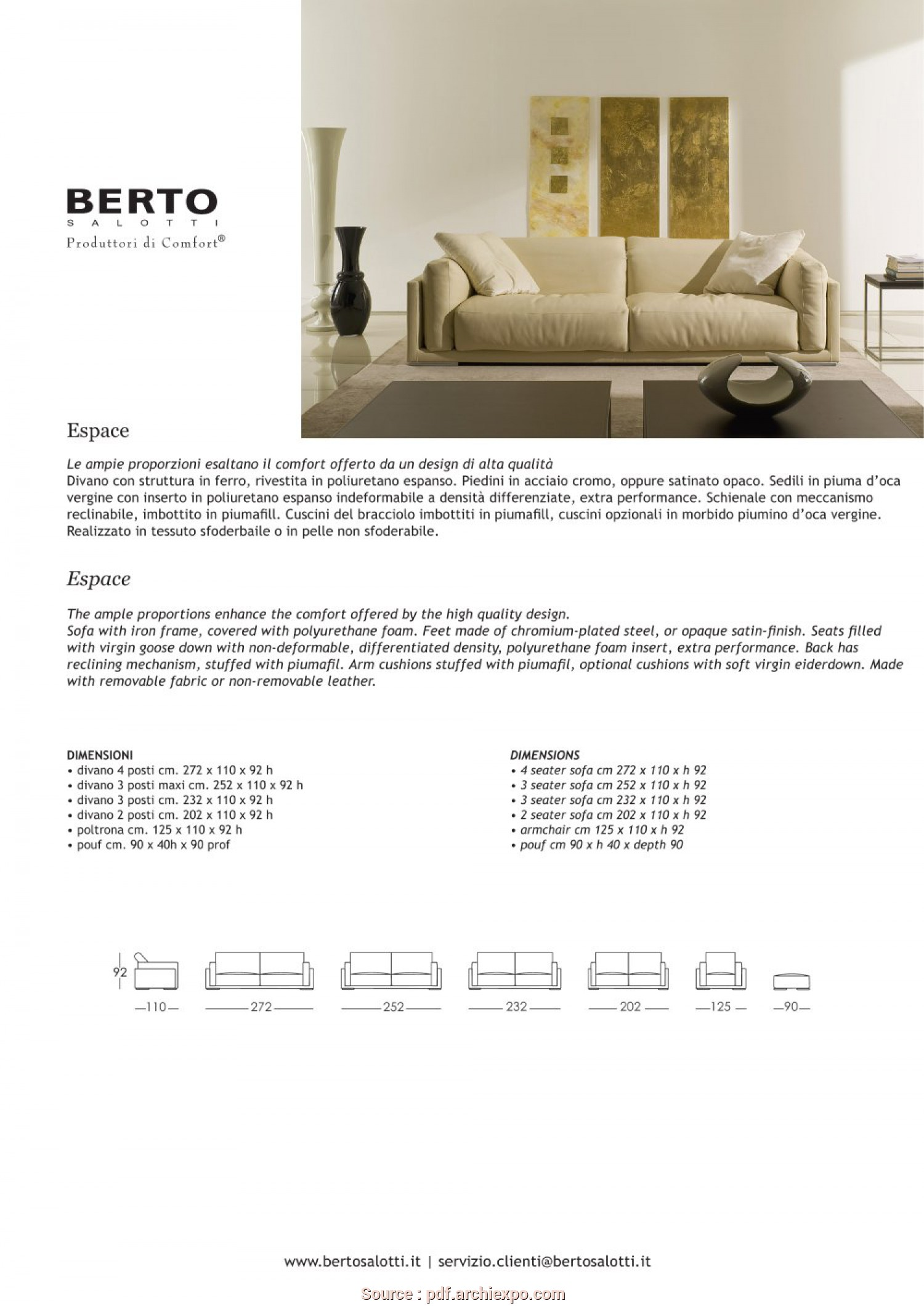 Dimensione Divano 4 Posti, Ideale Espace Sofa, BERTO SALOTTI -, Catalogs, Documentation, Brochures