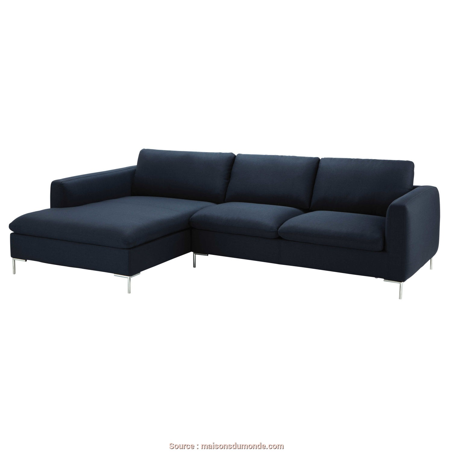 Divani A Maison Du Monde, Costoso 5 Seater Fabric Left Corner Sofa In Midnight Blue City, Maisons Du Monde