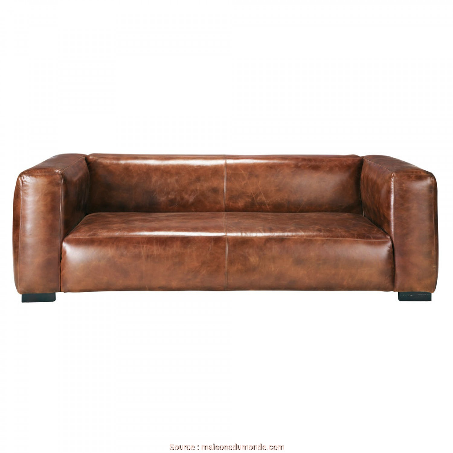 Divani Outdoor Maison Du Monde, Incredibile 3/4 Seater Leather Sofa In Brown, Maisons Du Monde