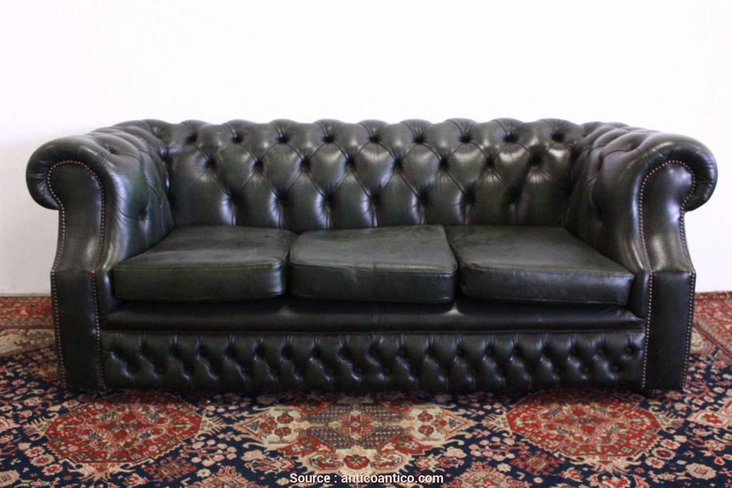 Divano Chesterfield Epoca, Delizioso Divano Chesterfield 3 Posti In Pelle Verde Originale Made In UK