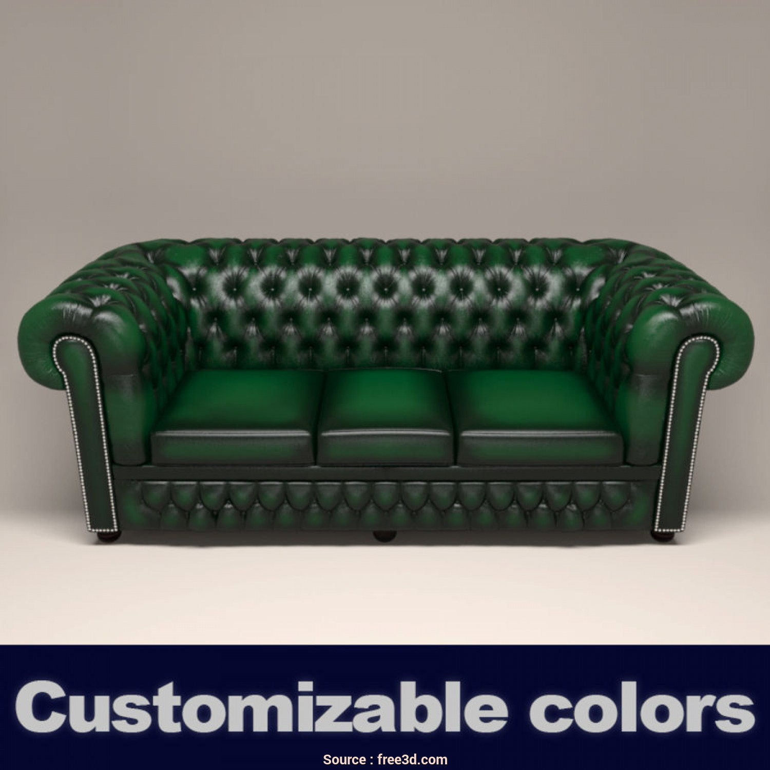 Divano Chesterfield, Max, Eccezionale Chesterfield Leather Sofa 3D Model,, .Obj .Fbx .Max, Free3D