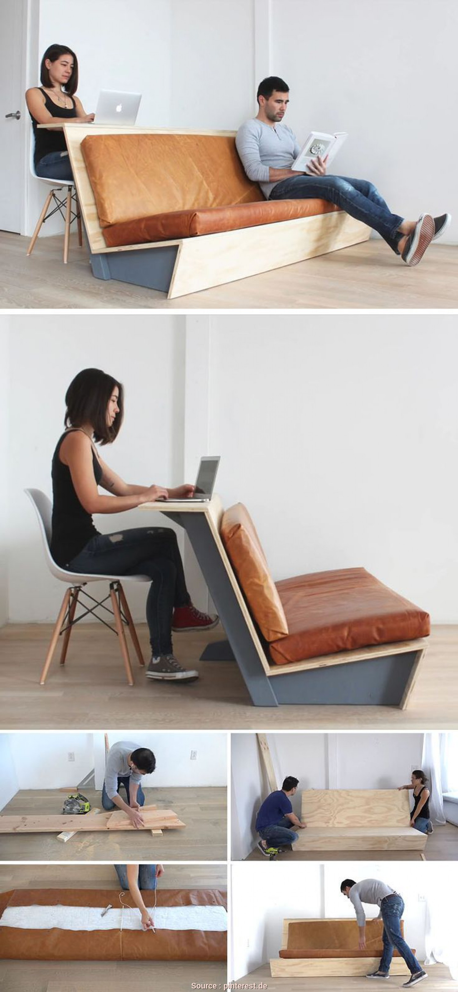 Divano, Da Te Paint Your Life, Sbalorditivo This Tutorial, A, Modern Couch Teaches, How To Create A Couch With A Wood Frame, Leather Cushions That Also Doubles As A Desk
