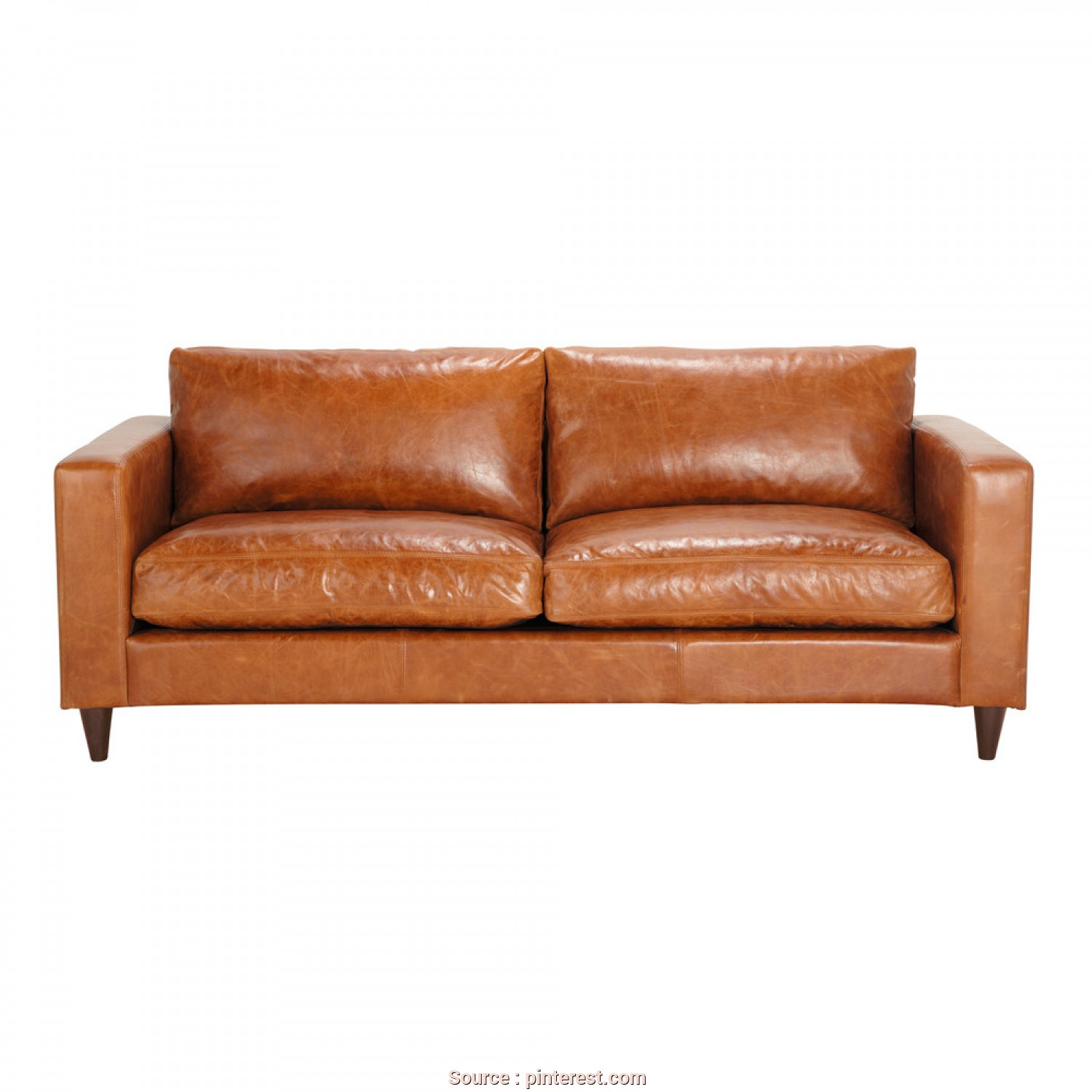 Divano Dandy Maison Du Monde, Freddo Vintage 3-Seater Leather Sofa, Camel Colored, Maisons Du Monde