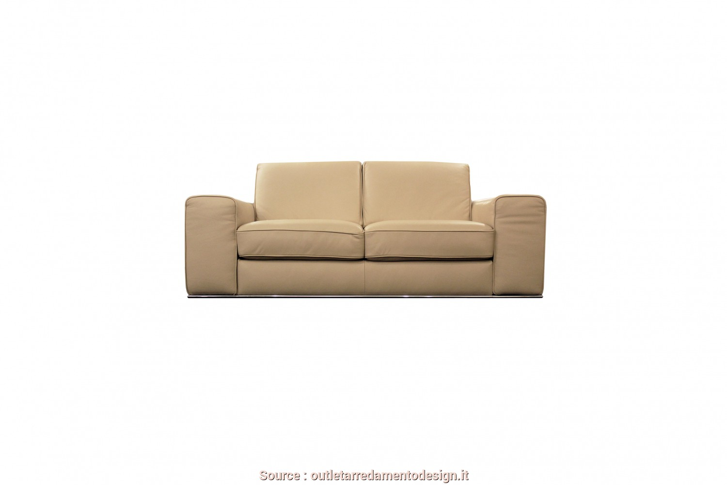 Divano Doimo Outlet, Bello Divano-Vincent-Pelle-Beige Soft Touch-Doimo Sofas-Arredo-Outlet-Design