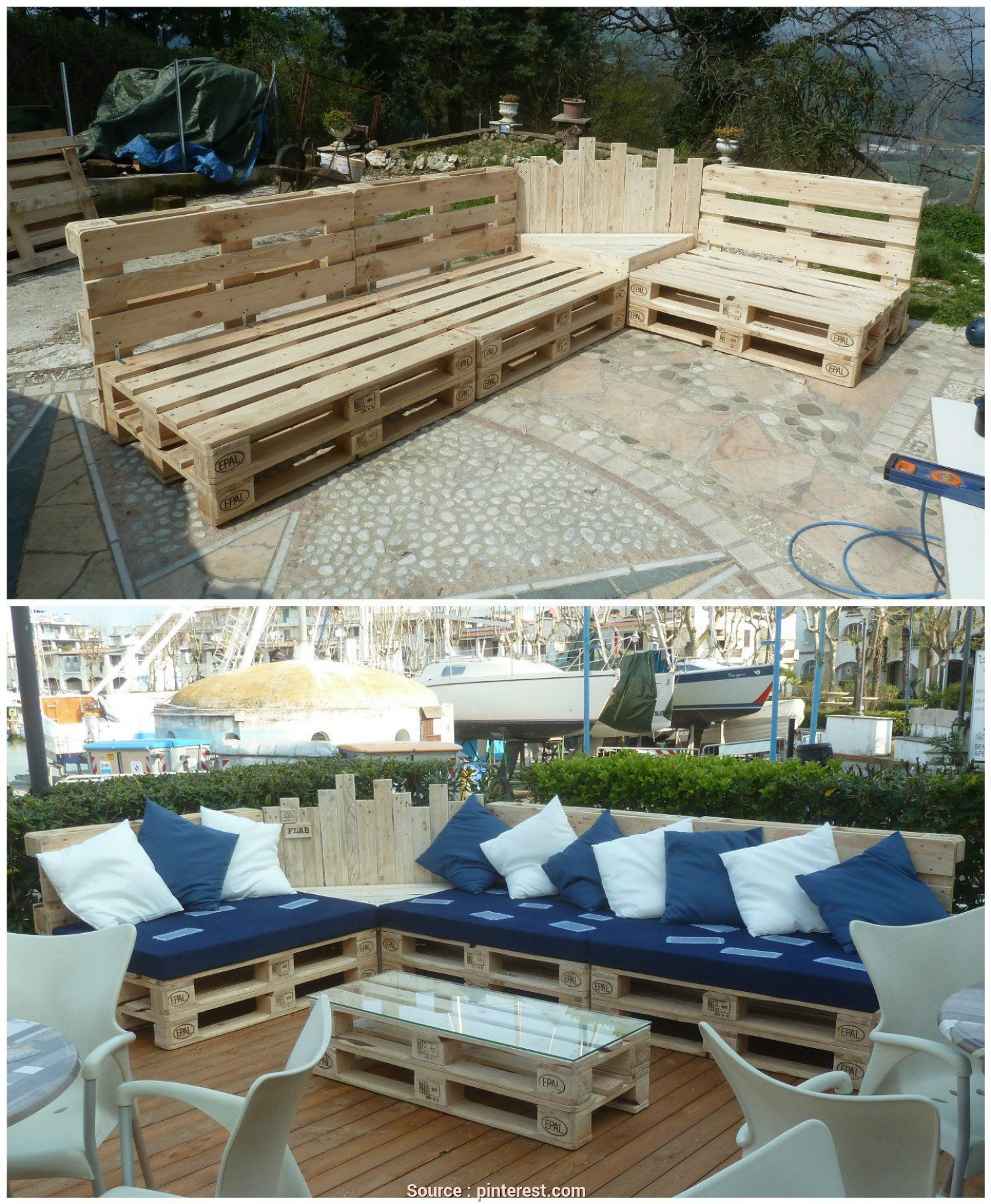 Divano Fatto, Pallets, Affascinante #Outdoor, #PalletCouch, #PalletGardenSet, #PalletLounge, #PalletSofa, #RecyclingWoodPallets We Built This Outdoor Pallet Sectional, Out Of 12 Pallets