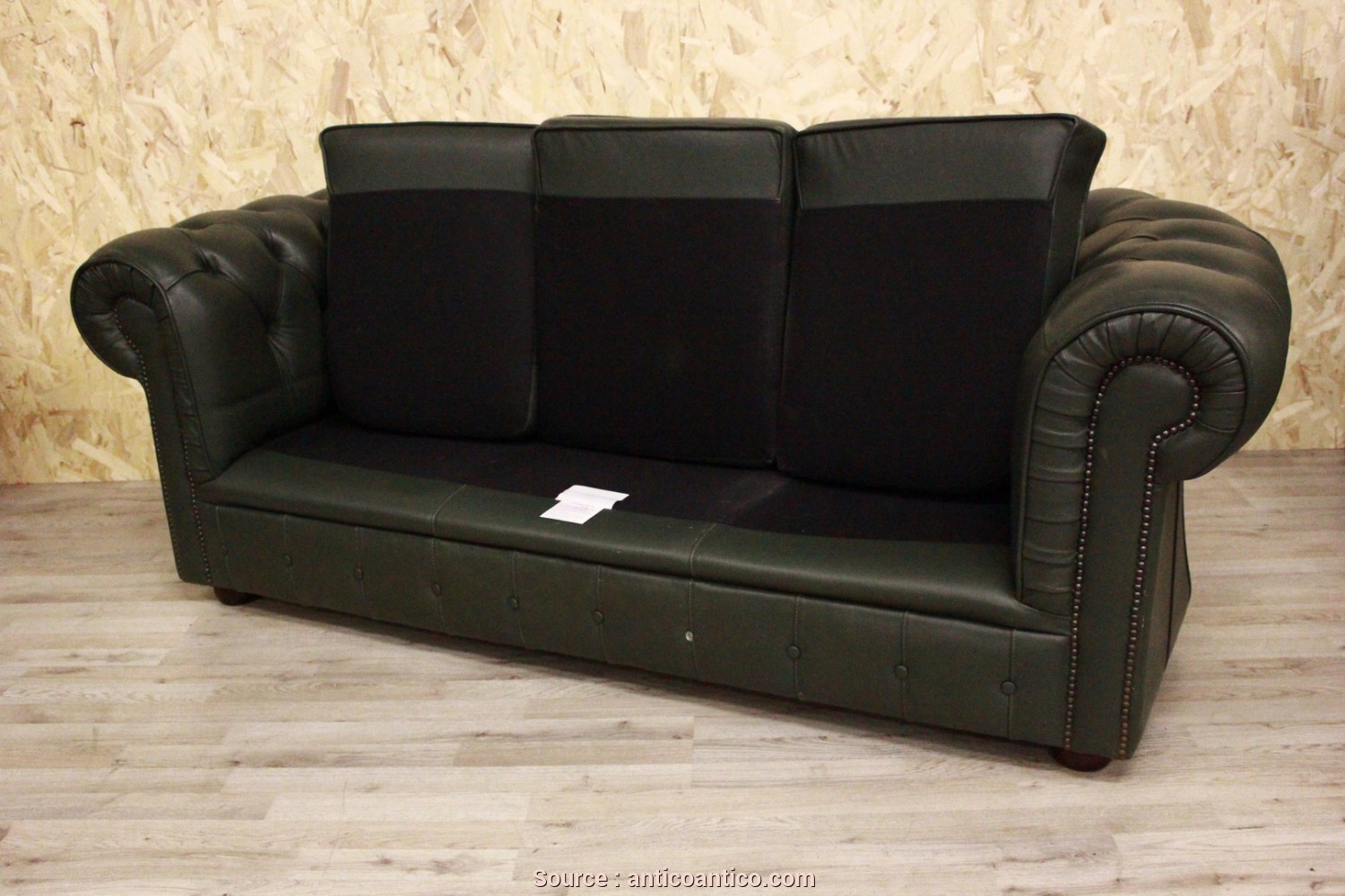 Divano Frau Pelle Vintage, Superiore 3 Seater Chesterfield Sofa In Original Green Leather Made In The