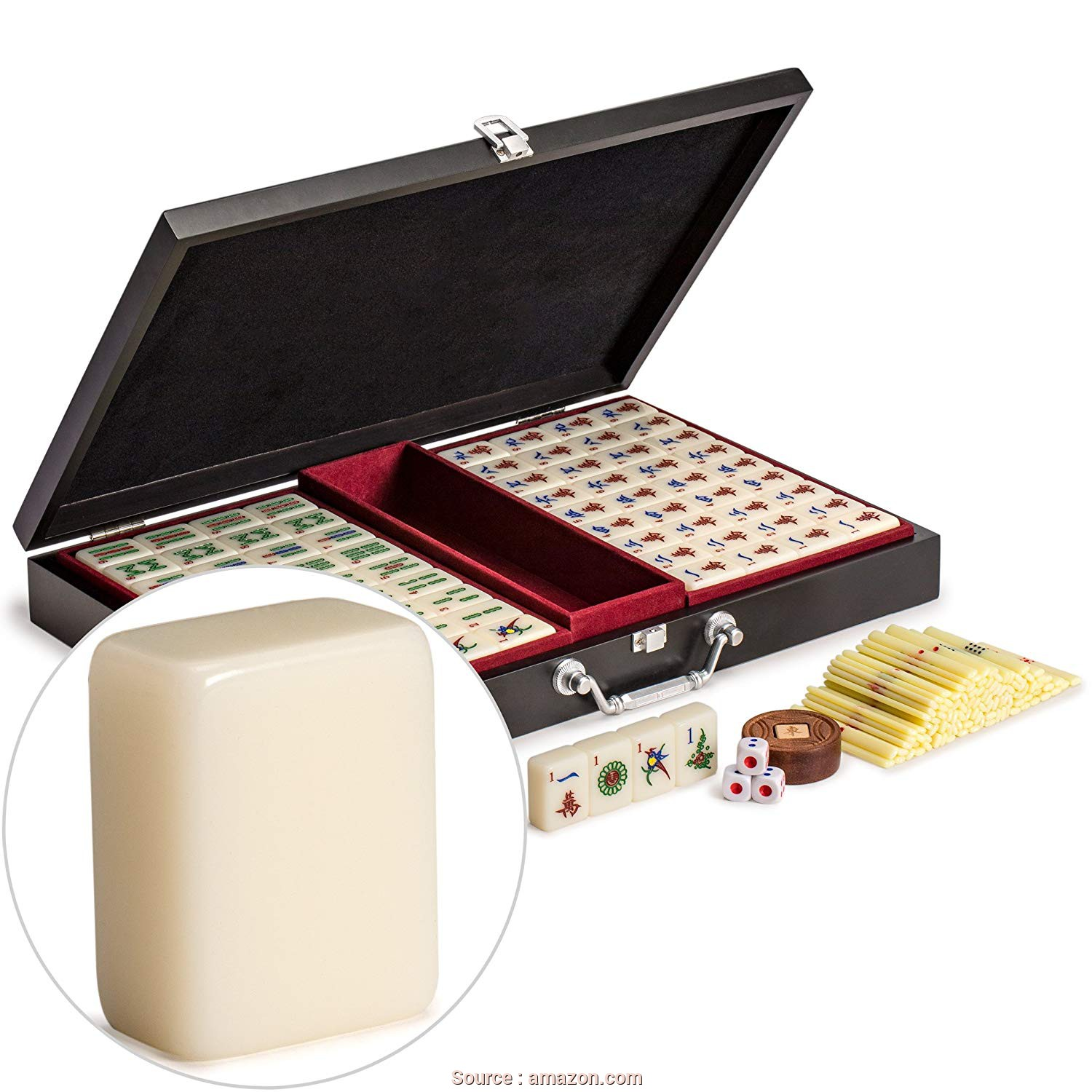 Divano, Jong Amazon, Ideale Yellow Mountain Imports Chinese Mahjong (Mah Jong, Mahjongg, Mah-Jongg,, Jongg, Majiang), With Numbered Tiles, Accessories,, Compact Wooden