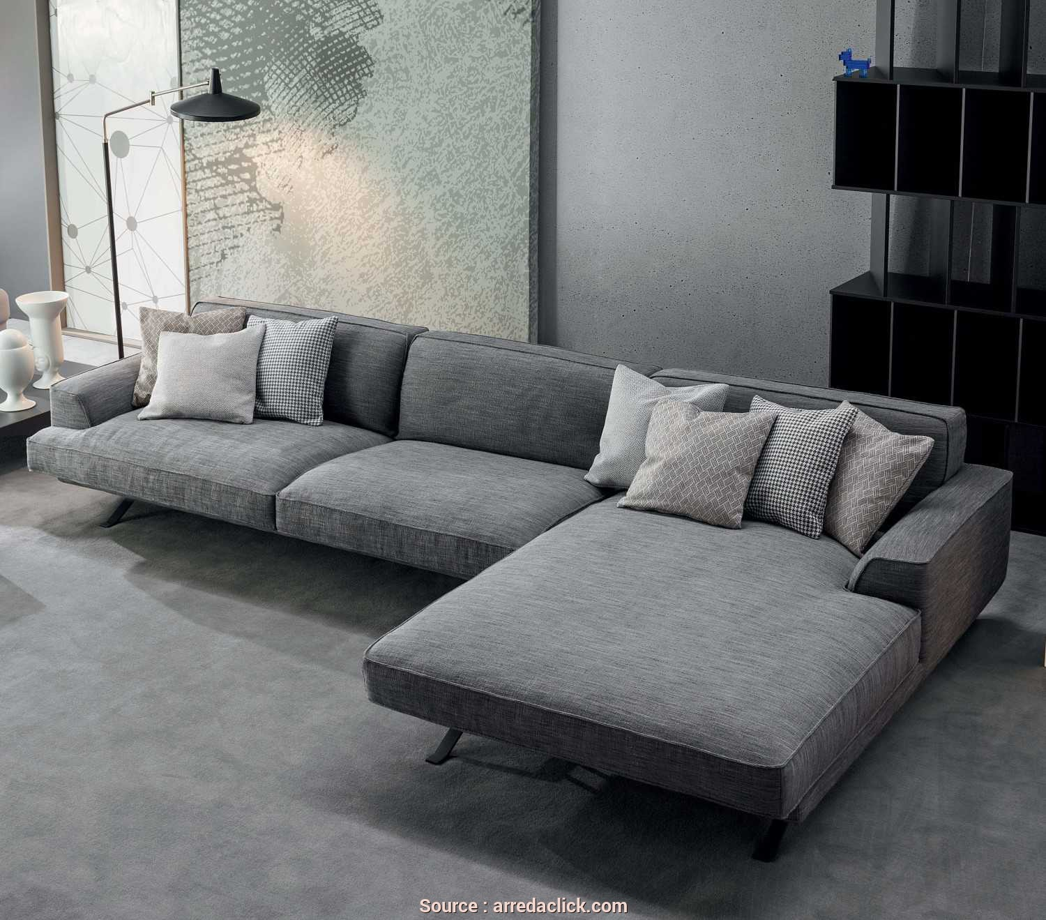 Divano Moderno, Chaise Longue, Migliore Slab Plus- Trendy Fabric Sofa With Chaise Longue · Divano Moderno, Chaise Longue