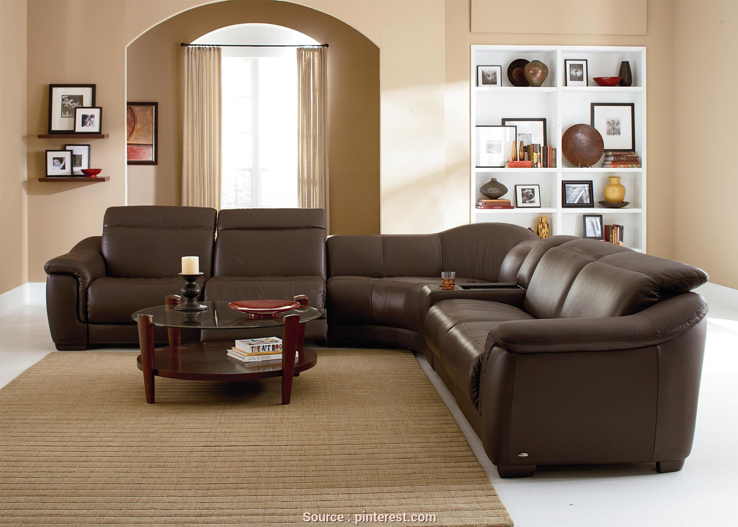 Divano Samoa Urban, Grande B641 Contemporary Leather Reclining Sectional Sofa With Built In Speakers, Storage Console By Natuzzi Editions, Baer