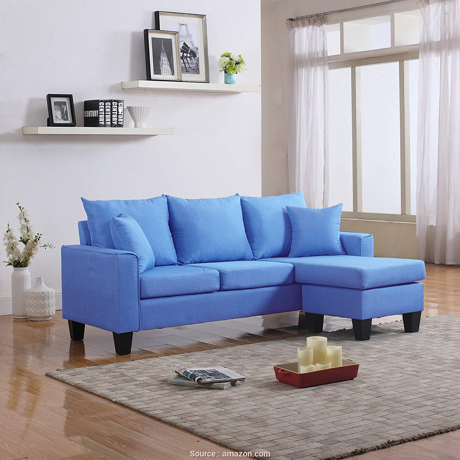 Divano Sofa, Eccezionale Amazon.Com: Divano Roma Furniture Modern Linen Fabric Small Space Sectional Sofa With Reversible Chaise (Sky Blue): Kitchen & Dining