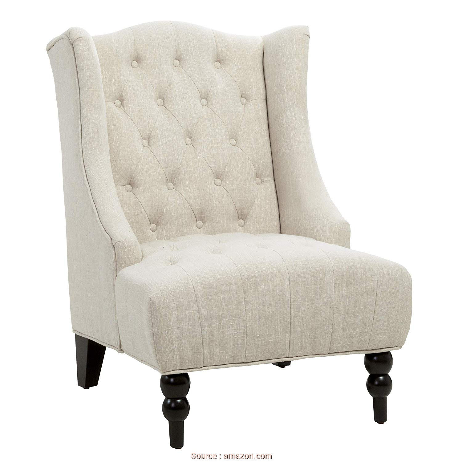 Divano Vintage Amazon, Stupefacente Amazon.Com: Great Deal Furniture Clarice Tall Wingback Tufted Fabric Accent Chair, Vintage Club Seat, Living Room (Light Beige): Home & Kitchen