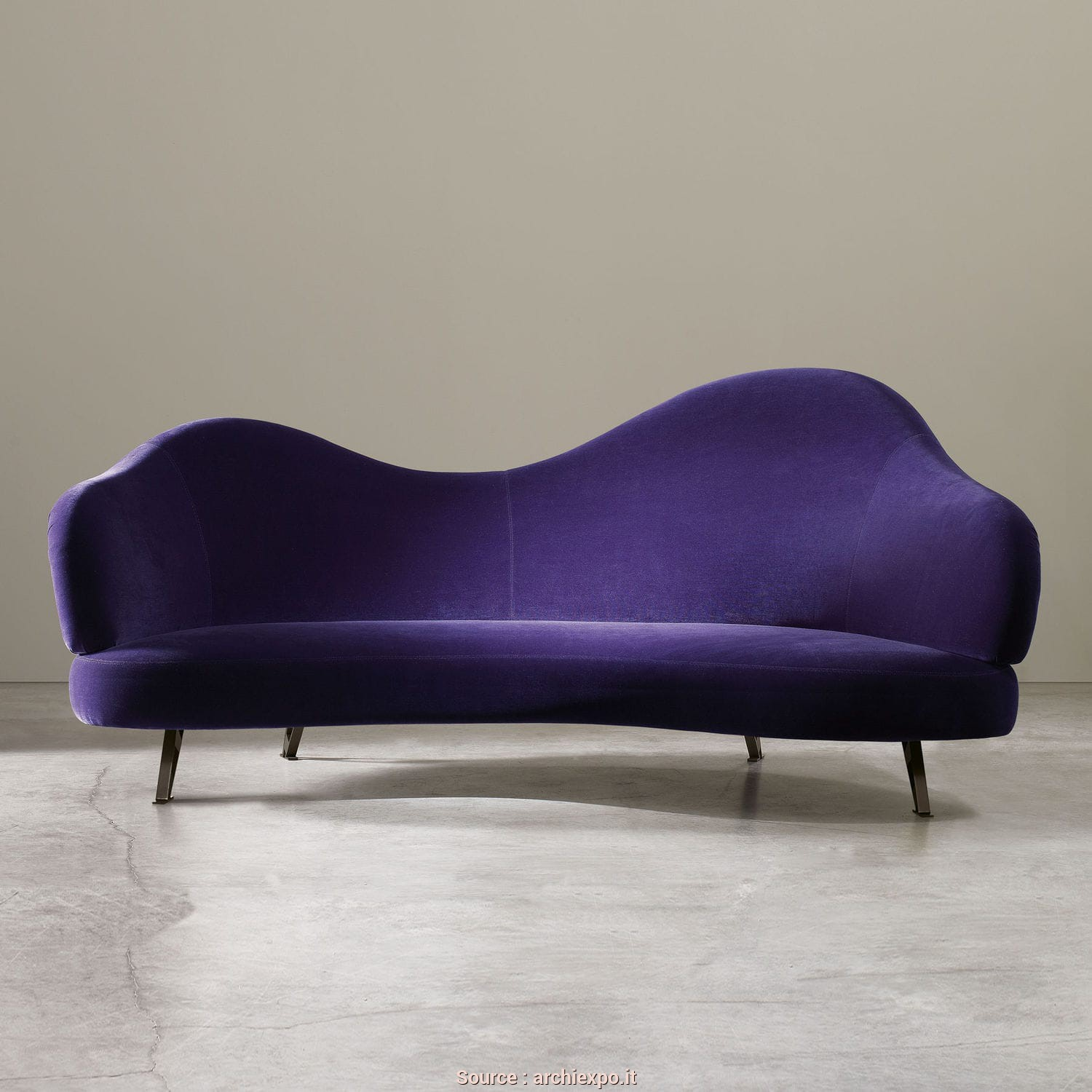 Divano Viola Pelle, Bello Divano Design Originale / In Lino / Viola, CHARMING By Arc_Lab