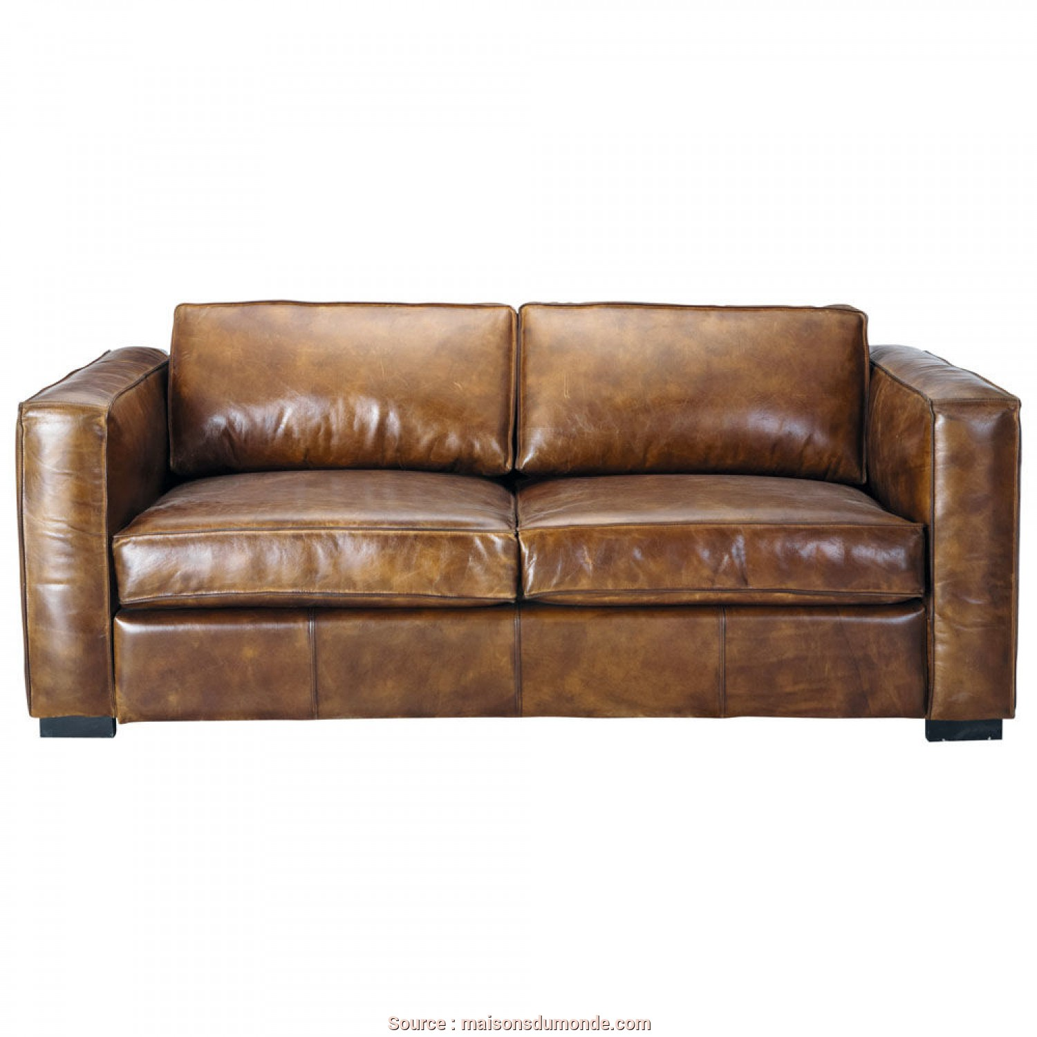 Divano, West Maison Du Monde, Superiore 3 Seater Distressed Leather Sofa, In Brown Berlin, Maisons Du Monde