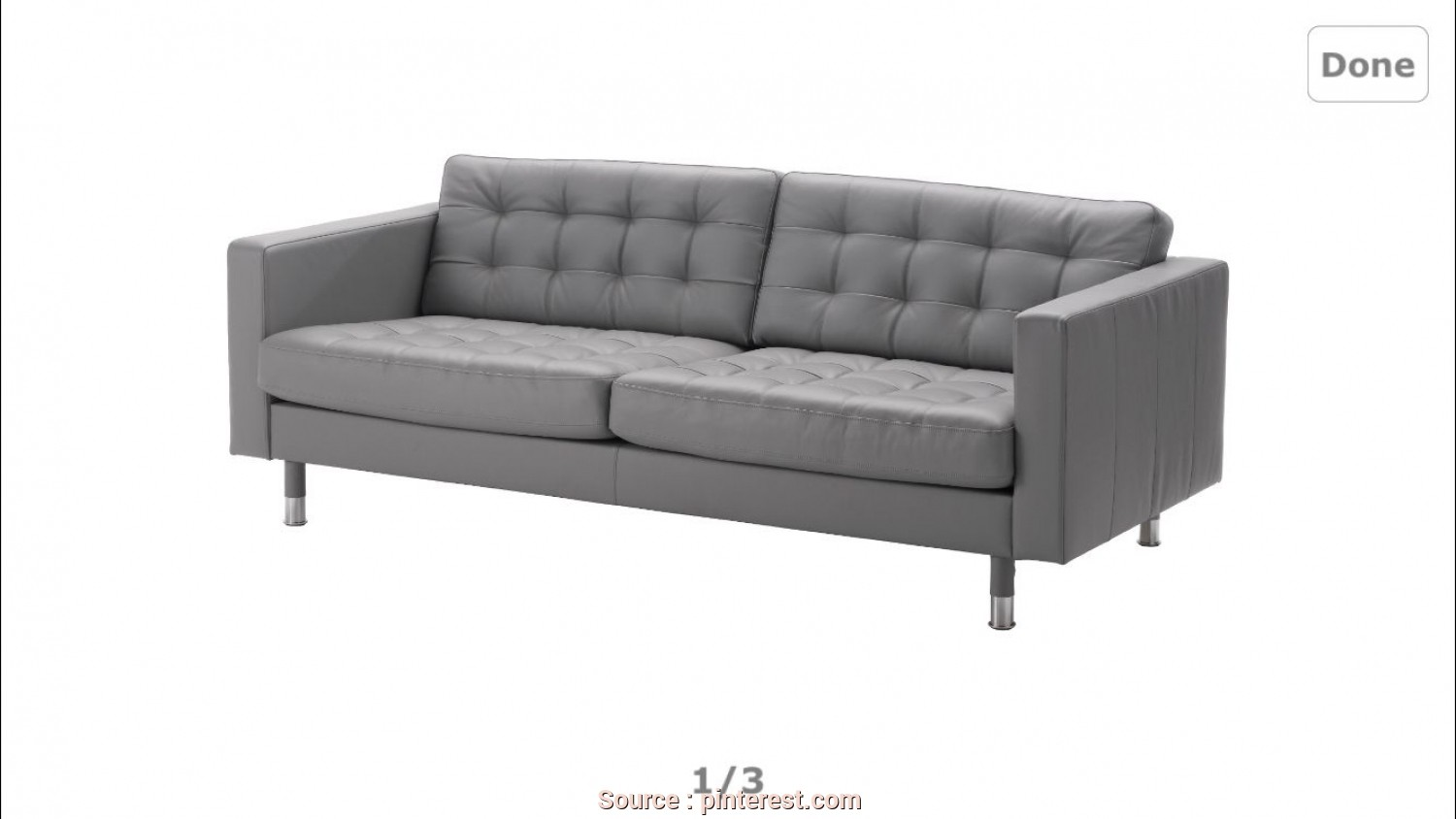 Futon Ikea Lyon, Originale IKEA Grey Leather Sofa, Living Room, Sofa, Landskrona Sofa, Ikea