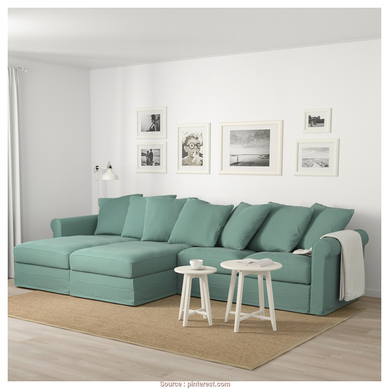 Gronlid Divano 3 Posti, Maestoso IKEA, GRÖNLID Sectional, 4-Seat With Chaise, Ljungen Light Green