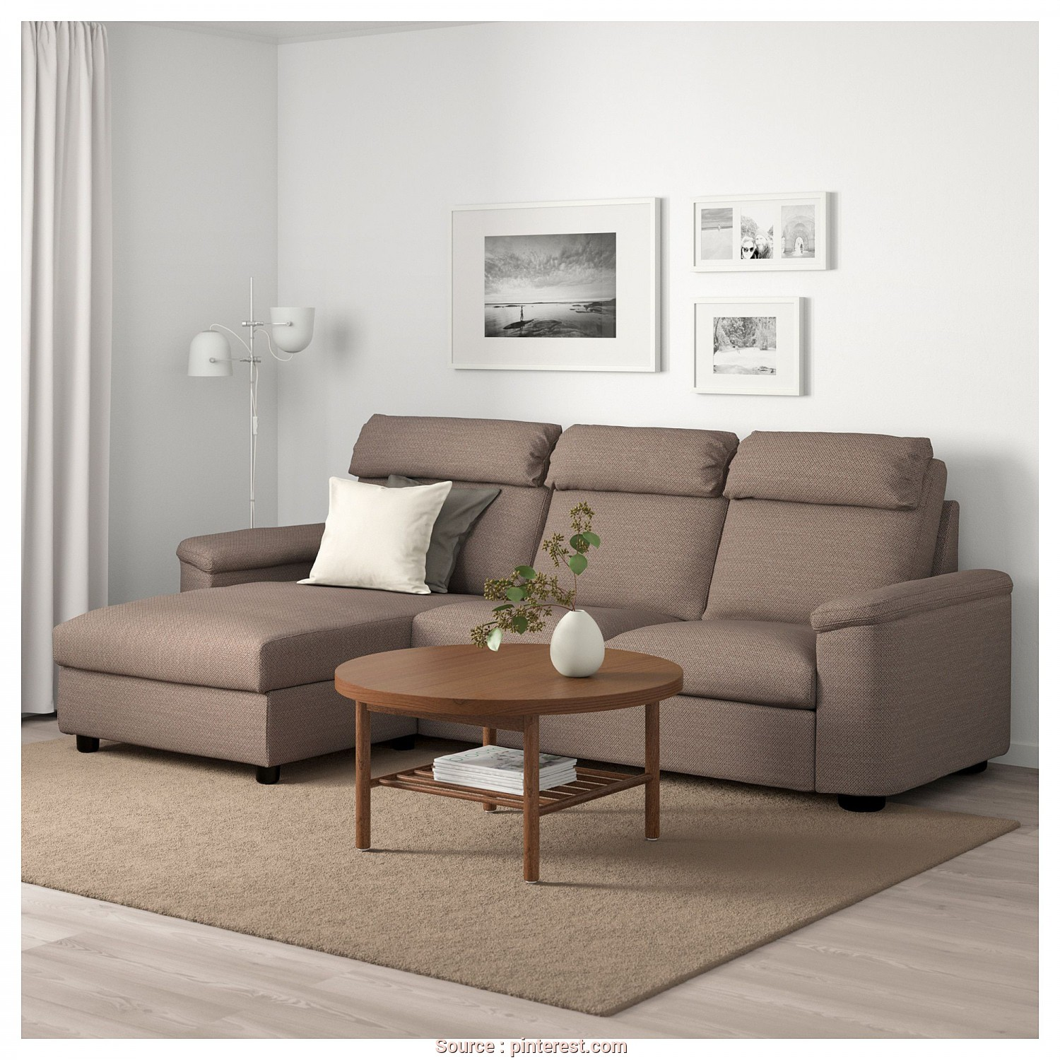 Ikea Divano Lidhult, Classy LIDHULT Sofa, With Chaise, Lejde Beige/Brown, Home Library