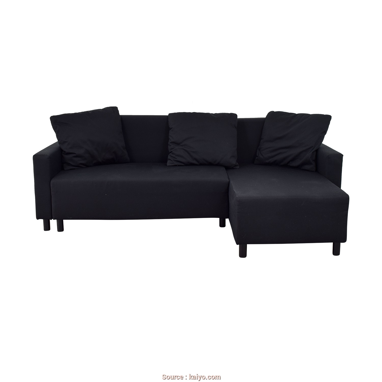 Ikea Futon Couch, Buono IKEA IKEA Black Sleeper Chaise Sectional With Storage Used