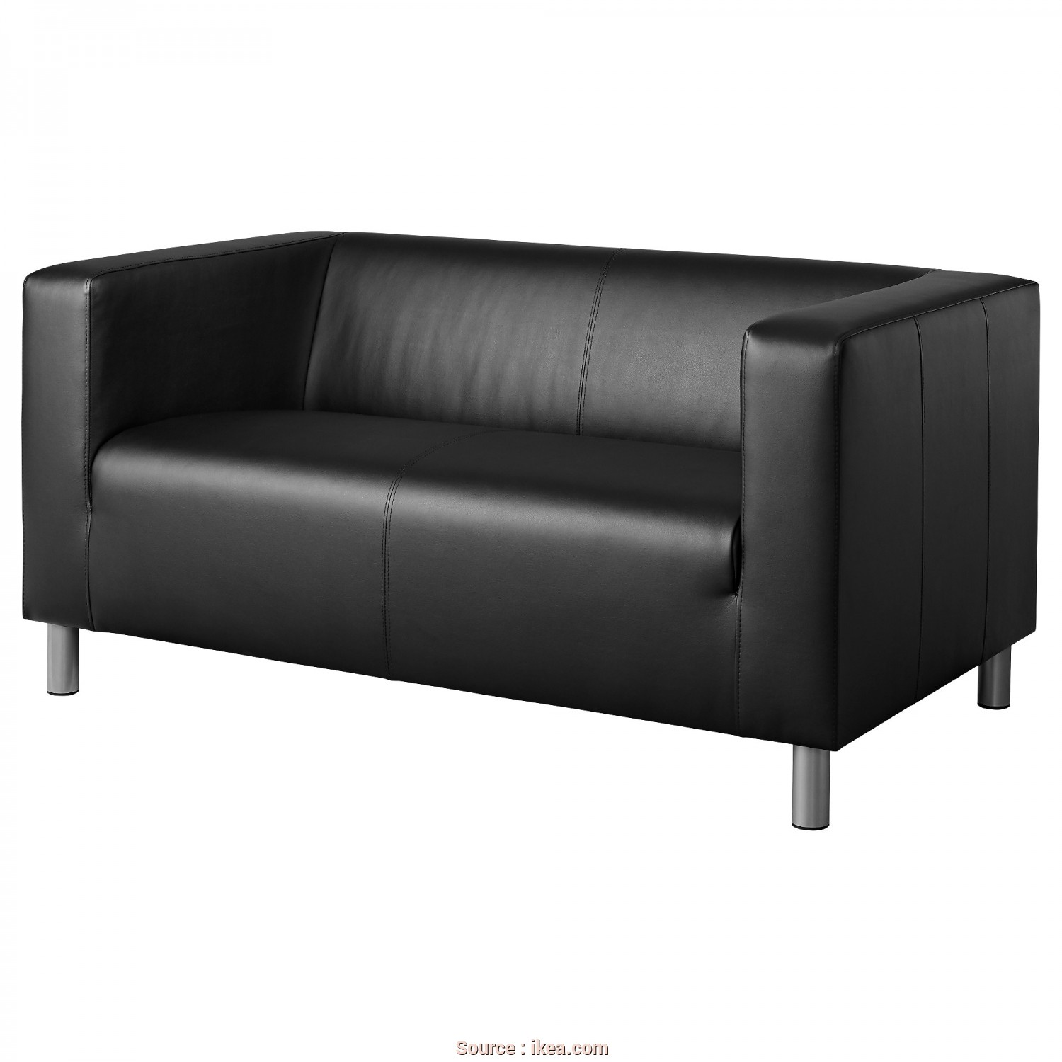 Ikea Klippan Black Leather Sofa, Freddo KLIPPAN Compact 2-Seat Sofa Kimstad Black