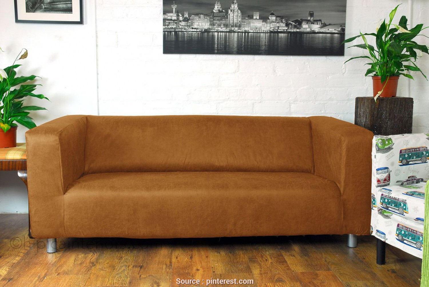 Ikea Klippan Leather Cover, A Buon Mercato Distressed Faux Leather Look Klippan Sofa Cover Honey, House