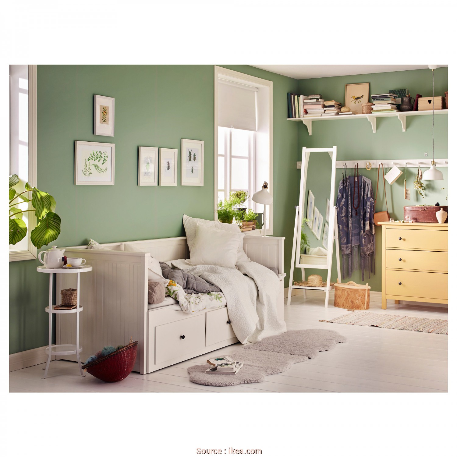 Letto Hemnes, Locale HEMNES Day-Bed, Drawers/2 Mattresses White/Malfors Medium Firm