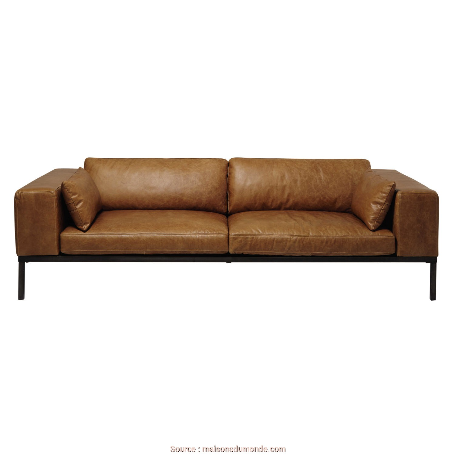 Maison Du Monde Divano Verde, Bellissima 4-Seater Leather Sofa In Camel, Maisons Du Monde