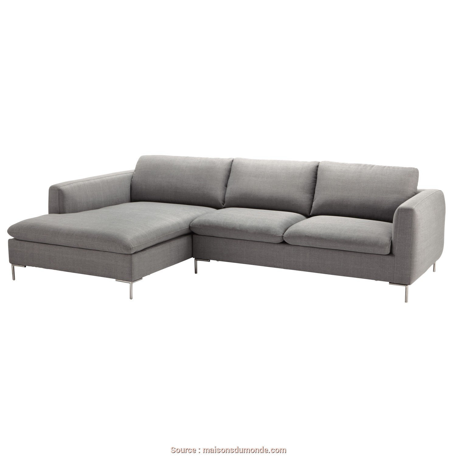 Maison Du Monde Divano Verde, Completare 5-Seater Fabric Left Corner Sofa In Light Grey, Maisons Du Monde