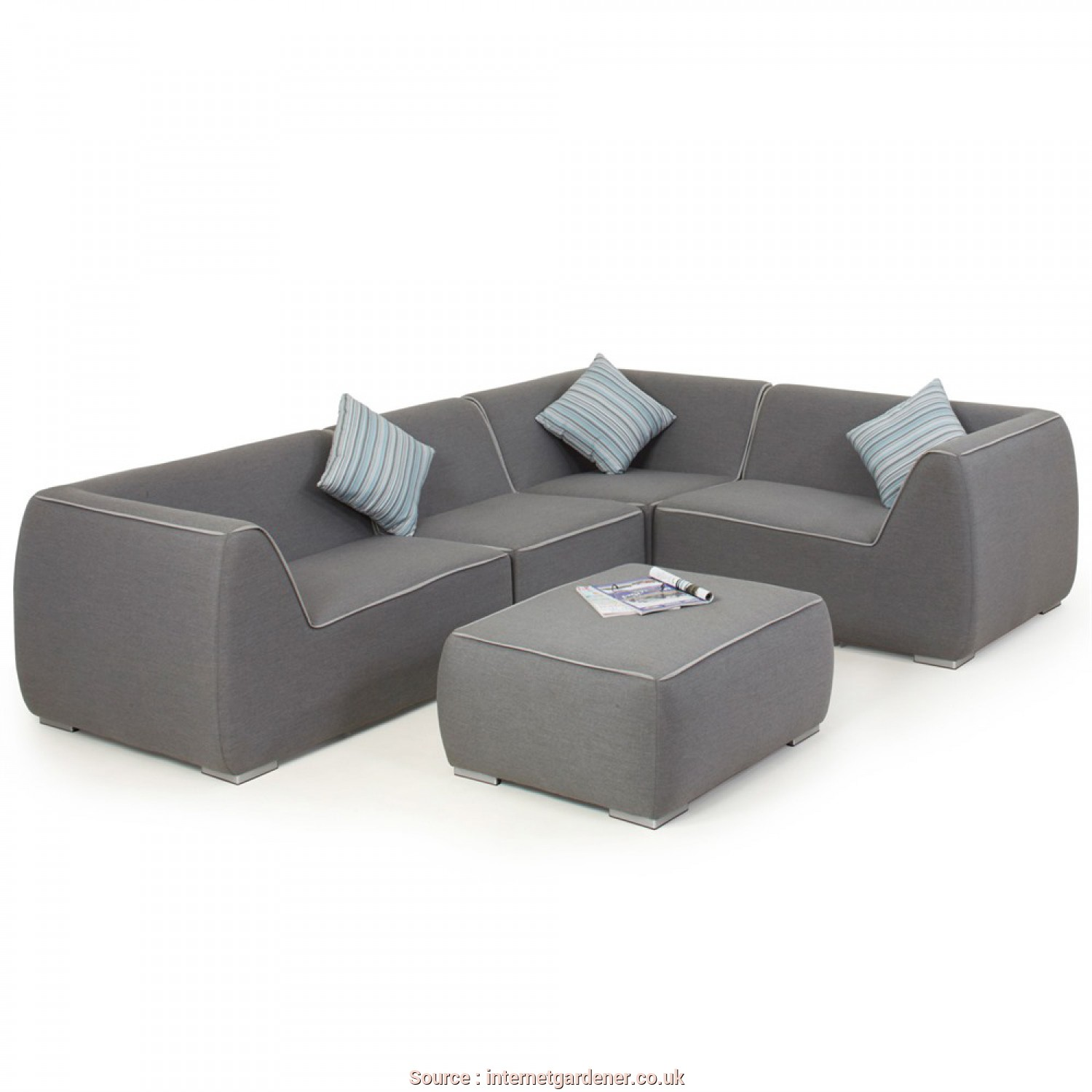 Maze Rattan Divano, Rustico Maze Divano Nadi Small, Weather Fabric Corner Sofa, With Ottoman