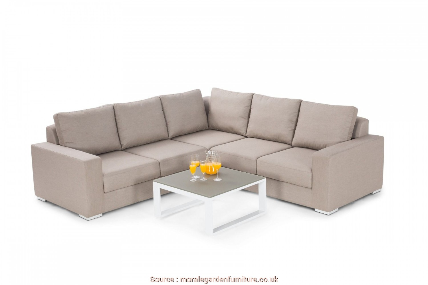 Maze Rattan Divano, Rustico Maze Rattan Divano, Weather Outdoor, Taupe Fabric Corner Sofa Group FB-ZE-CG-TA