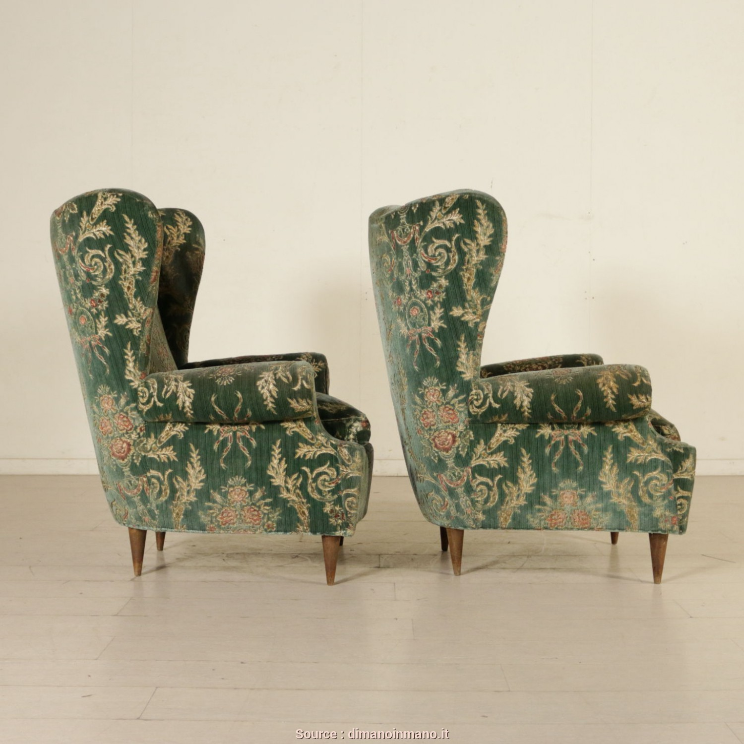 Poltrone Bergere Vintage, Ideale Bergere Armchairs Velvet Upholstery Vintage Italy 1950S