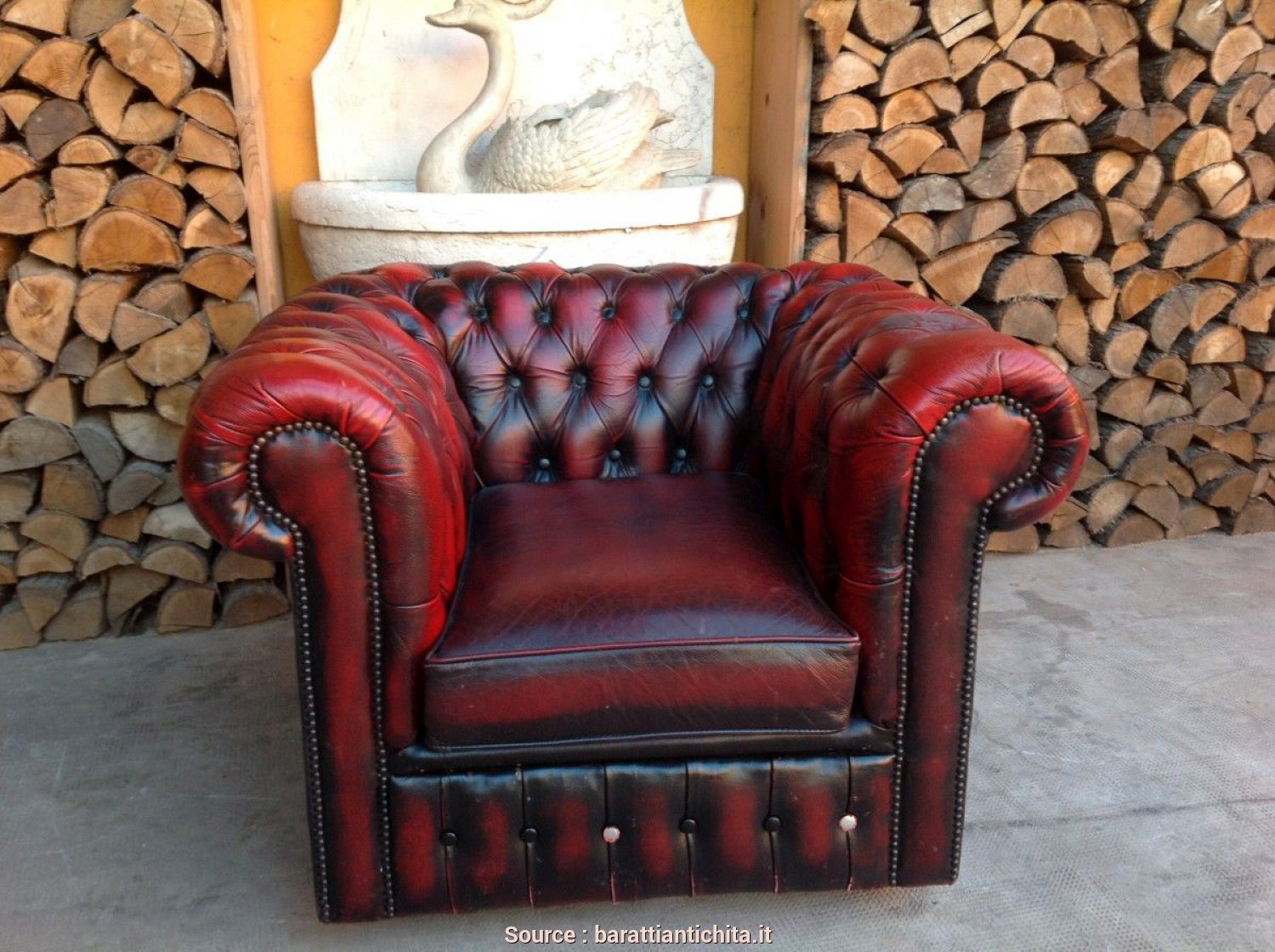 Poltrone Pelle Verde Vintage, Costoso Poltrona Chesterfield Club Originale Inglese Vintage In Vera Pelle Color Bordeaux
