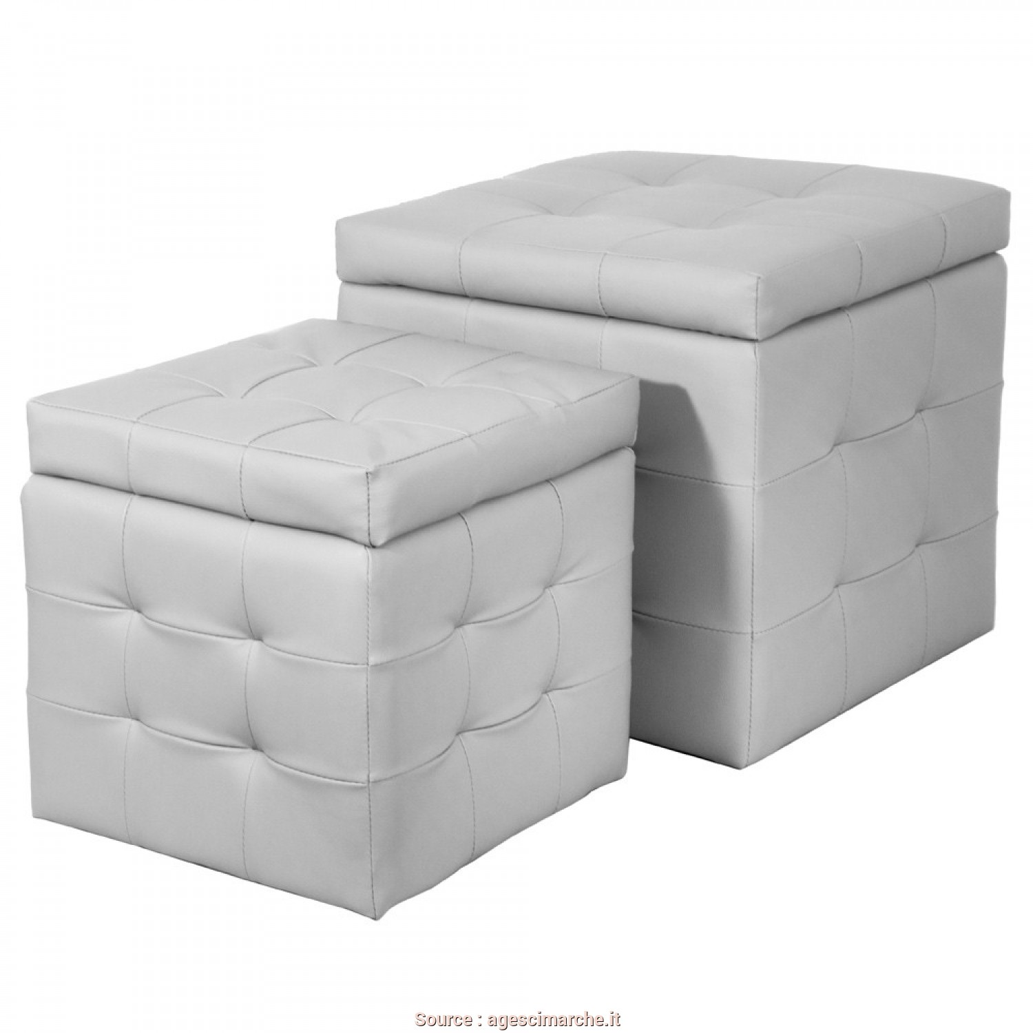Pouf Contenitore Ecopelle Ikea, Deale X2 Pouf Contenitore Ecopelle Bianco BISCUBELUXURY/B