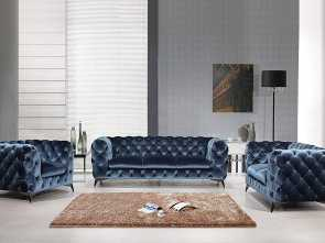 Amazon Divani Country, Eccezionale Divani Casa, Furniture Delilah Collection Modern Velour Fabric Upholstered Sofa, That Includes Sofa, Loveseat & Chair With Stainless Steel Legs, Blue