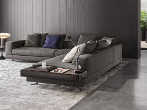chesterfield divano minotti Minotti White sectional with attached leather table : Fabric : 06 Elephant Color: Pitti ; Leather table Name: Pelle Extra Color, Visone Migliore 5 Chesterfield Divano Minotti