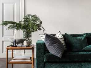 Cuscino Karlstad Ikea, Bello Luxe Green Velvet Sofa, Retro, Cart Sideboard,, Tree, Eucalyptus Bouquet, IKEA Karlstad Sofa With A Bemz Cover In Viridian Velvet By Designers