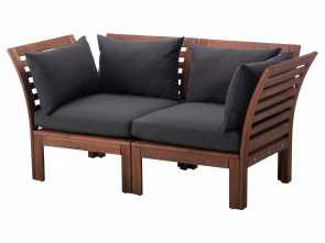 divanetto rattan ikea ÄPPLARÖ Loveseat, outdoor, brown brown stained, black Hållö black Bello 4 Divanetto Rattan Ikea