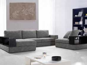 Divani Chateau D'Ax America, Elegante Anthem, Grey Fabric Modern Sectional With Wood Shelves, From