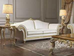 Divani Country In Pelle, Modesto Classic Sofa / Leather / 2-Person / White, IMPERIAL, VIMERCATI