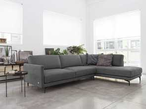 Divano Azzurro Polvere, Eccellente Divano Konnor, Leather Sofa, Empio Collection By Doimo Salotti. Konnor Balances, Shape