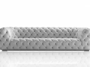 Divano Chester Nabuk, Modesto Chesterfield Sofa / Leather / 3-Seater / Gray, CHESTER MOON By Paole Navone