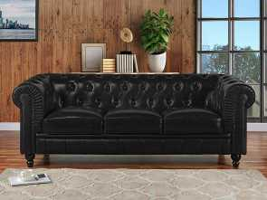 divano chesterfield.com Amazon.com: Divano Roma Furniture Classic Scroll, Leather Match Chesterfield Sofa (Black): Kitchen & Dining Ideale 5 Divano Chesterfield.Com