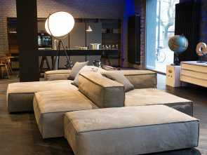 divano design italiano FLEXTEAM Sofa Modular System Reef Suede Grey Leather Flexteam Superiore 6 Divano Design Italiano
