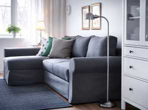 Divano Ektorp, Chaise Longue, Stupefacente A Living Room With A Three-Seat Sofa-Bed With A Chaise Longue, A Grey Cover